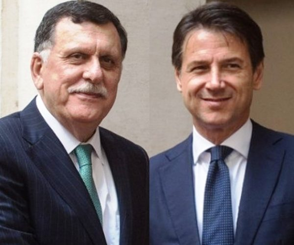 كونتي يستقبل السراج بمقر رئاسة الوزراء الايطالية